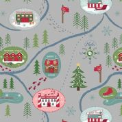 Lewis & Irene North Pole - 5501 - Pine Woods Scenic Print on Grey - C13.3 - Cotton Fabric
